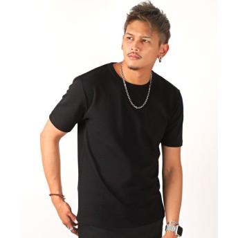 【15%OFF】 ラグスタイル タックフライス半袖Tシャツ/Tシャツ メンズ 半袖 クルーネック タックフライス メンズ ブラック L 【LUXSTYLE】 【タイムセール開催中】