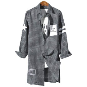 (ジュンィ) メンズ ロング丈 デザインシャツ 長袖 チェック ゆったり ワイシャツ カジュアル コート 春 秋 個性グレー2XL