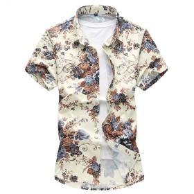 CEEN メンズ シャツ アロハシャツ 花柄 半袖 フラワー おしゃれ リゾート カジュアル さわやか 花 柄フラワー おしゃれ 大きいサイズ 海 通気 涼しい 夏