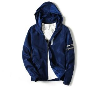 アウトドアウェア コート メンズ 春 薄手 ブルゾン ジャンパー スタンドジャケット防風 軽量 無地 パーカー ウインドブレーカー メンズファッション おしゃれ 全5色 (ネイビー, 3XL)