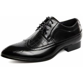 [visionreast] ビジネスシューズ メンズ 革靴 外羽根 黒 大きいサイズ ウイングチップ レースアップシューズ カジュアルシューズ ウォーキング おしゃれ 紳士靴 結婚式 ブラック 28.5cm