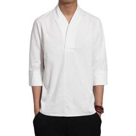 BSCOOLメンズ tシャツ 7分袖 Vネック ゆったり 無地Tシャツ 綿麻tシャツ 夏物 トップス リネンシャツ(E白)