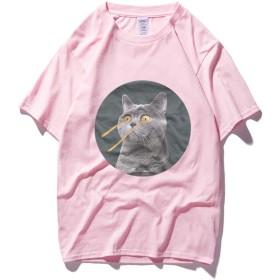 綿100% Tシャツ メンズ 半袖 五分袖 プリント おもしろい ファッション Victorics 猫 パーソナリティ ヒップホップ かわいい 通気性 ピンクS