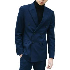 ファションヤ スーツジャケット メンズ ブレザー テーラードジャケット 紳士 大きいサイズ 上品 きれいめ スリム 長袖 M-3XL カジュアル ビジネス 結婚式 パーティー (3XL, ネイビー)