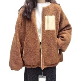 ZhongJue(ジュージェン)レディース ボア ジャケット ゆったり ショートコート 着痩せ 韓国ファッション アウター 原宿系 通学 防寒着(FREESIZEカーキ)
