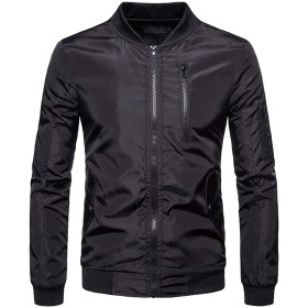 WHATLEES メンズ ジャケット ブラック ストリート MA-1 エムエーワン フライト ゆったり 中綿 アウター 秋冬BA0194-Black-L