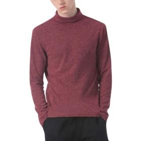 ロンT タートルネック メンズ 長袖Tシャツ カットソー 無地 ストレッチ あったか インナー ロンティー 男性