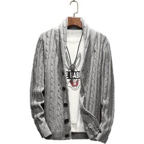 【SEBLES】メンズ トップス ショール カーディガン ボタン ニット セーター 冬 ライトグレー L