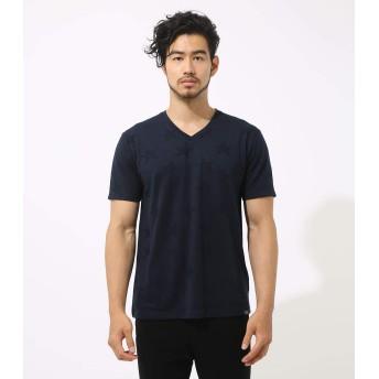 [アズールバイマウジー] Tシャツ スター ジャガード Vネック 半袖T メンズ ネイビー Large