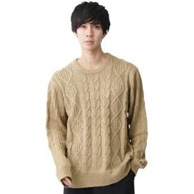 (モノマート) MONO-MART オーバーサイズ アラン編み クルーネック ケーブル ニット セーター メンズ ベージュ Lサイズ