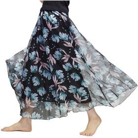 KMAZN レディース マキシスカート 花柄 シフォン ロング丈 フレアスカート 春 夏 フレア ロングスカート 全12色
