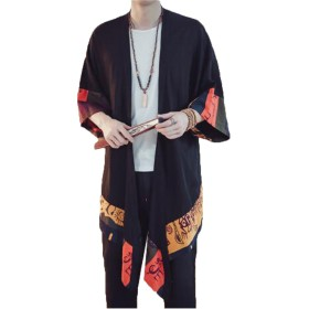 (グードコ) 麻綿 チャイナ風 民族風 和式パーカー メンズ ロング カーディガン 七分袖 半袖 トップス 日式 プリント 個性的 102 XL