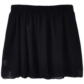 (ジュエシャンジ) Jueshanzj レディース 全18色 無地 ゴムウェスト シフォン プリーツ ミニスカート ワンサイズ ブラック