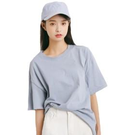 JHIJSC レディース tシャツ 半袖 カットソー 綿 夏 トップス シンプル 無地 ゆったり かわいい 大きいサイズ (ブルー, F)