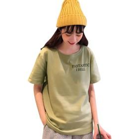 [アンドジェイ] 背中 恐竜 プリント ロゴ Tシャツ (4319) ワンサイズ カーキ