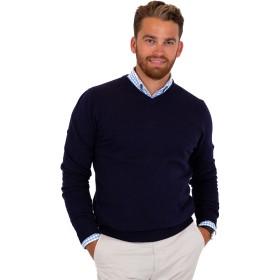 メンズ無地のウール コットン ニット V ネック セーター,XL,ブラック