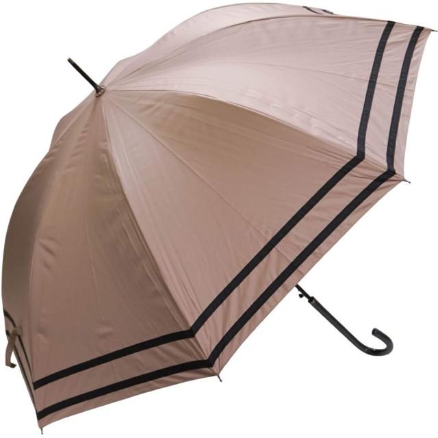 macocca(マコッカ) 遮光率100% 遮蔽率100% 超撥水 耐風骨 晴雨兼用傘 大きめ 60cm ジャンプ傘 makez. マケズ 2本ライン ピンクベージュ
