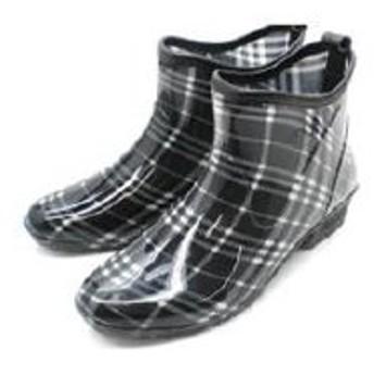 レインブーツ レディース ショート ドット チェック 花柄 長靴 hnlb8307 (M(23.0~23.5cm), チェックブラック)