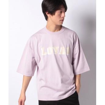 【36%OFF】 ウィゴー WEGO/フロッキープリント5分袖Tシャツ メンズ ライトパープル M 【WEGO】 【タイムセール開催中】