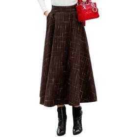 (ロンショップ)R.O.N shop デザイン 柄 ロング スカート 上品 清楚 ライン チェック フレア Aライン ハイウエスト (ブラウン,M)