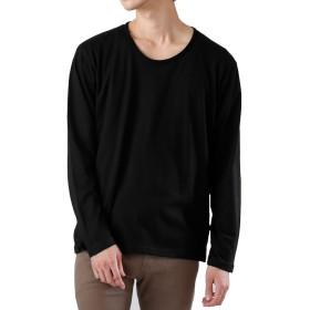 (モノマート) MONO-MART ツインロール Uネック カットソー L/S 長袖 ゆる 着心地 MODE Tシャツ デザイナーズ 爽やか メンズ ブラック Lサイズ