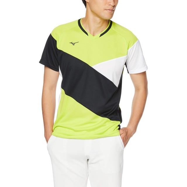 [Mizuno] バドミントンウェア ゲームシャツ 半袖 スタンダード ダイナモーションフィット 汗 吸収 ソフトテニス バドミントン 72MA9011 ライムグリーン 日本 S (日本サイズS相当)