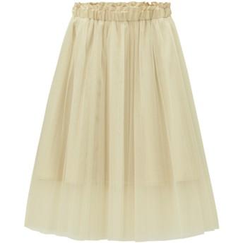 (GU)GIRLSチュールプリーツスカート+E OFF WHITE 140cm