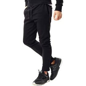 JIGGYS SHOP スウェットパンツ メンズ テーパード トラックパンツ 裾ジップ スリム 細身 無地 ライン S Aブラック