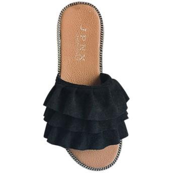 Fashion maker(F&M)ミュール レディース フリル オープントゥ スエード調 シンプル 歩きやすい カジュアル フラット 美脚 全3色 大きいサイズ (25cm(FR40), ブラック)