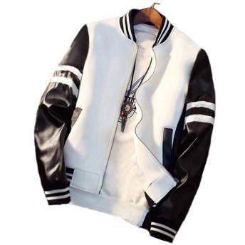 メンズ ジャケット アウター カジュアル ブルゾン スタジャン スタジアム ジャンパー 厚手 裏起毛 白 (2XL/日本サイズL、XL相当)