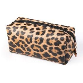 女性財布PUレザーヒョウ柄化粧品袋収納ポーチ大容量(明色)