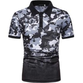 LIDADA メンズポロシャツ 半袖 迷彩柄 おしゃれ polo shirt ゴルフ スポーツ 普段着 吸汗速乾 大きいサイズ ゆったりNB042-22-S