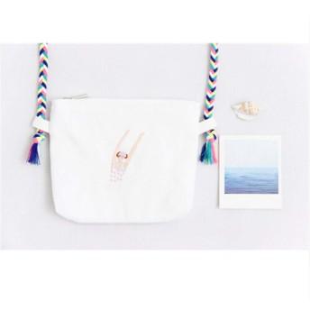 MARUIKAO バッグ ショルダーバッグ 斜めがけ 軽量 キャンバス 可愛い シンプル ガールズ 通学 カジュアル 刺繍 ボディバッグ タイプ1