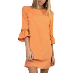 BAO8 ドレス 無地ワンピース 7分袖ドレス ひざ丈スカート ミニスカート 可愛い 素敵 春着 夏物 普段着 (L, オレンジ)
