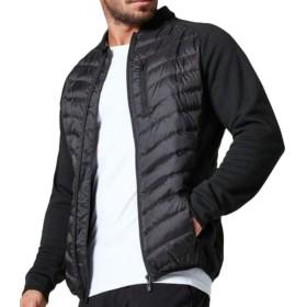 gawaga メンズアクティブフロントジップスリムウォームキルト厚ランニングダウンジャケットコート Black XS