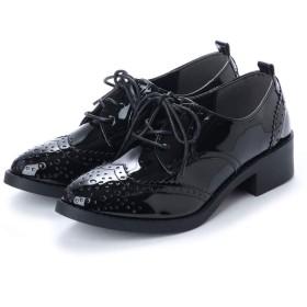[Scramble] レースアップメダリオンマニッシュシューズ おじ靴 メダリオン ローファー メンズライク L(23.5cm~24.0cm) ブラック/エナメル