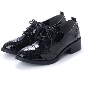 [スクランブル] レースアップメダリオンマニッシュシューズ おじ靴 メダリオン ローファー メンズライク L(23.5cm~24.0cm) ブラック/エナメル