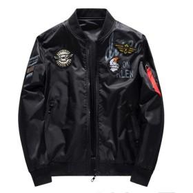 [ミートン] ライダースジャケット メンズ ジャケット レザージャケット 両面着 コート アウター 秋冬 長袖 カジュアル ゆったり 大きいサイズ プリント ブラック6XL