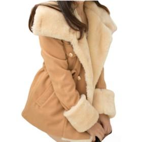 Huanggu(フアングー) レディースコート ふわもこ ガーリー あったか ムートン タッチ ボア 冬 フード ショートコート ウエスト 自分好み シェイプ スタイルアップ 効果 ばっちり 柔らか素材 優しい 着心地 3色 3サイズ (キャメル, XXL)