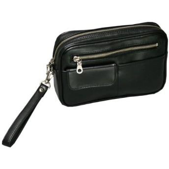 合皮 セカンドバッグ 前面かぶせポケット付 メンズポーチ 集金鞄 (22×14×4.5cm)/1528