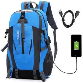 ALTBP防止耐傷USB充電ポート登山 リュック ザック 軽量 山 バック パック 大容量 撥水 加工アウトドアバッグ 旅行スポーツバッグ 通学 通勤 (ブルー)
