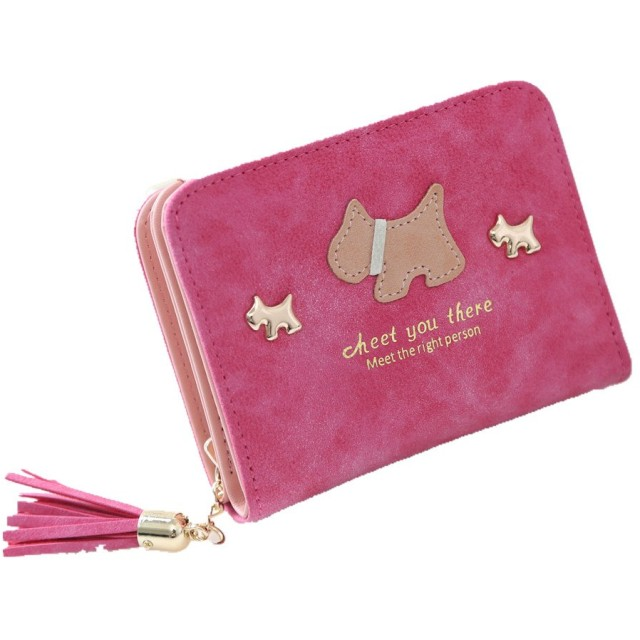 長之瑞(Choreal)ミニ財布 二つ折り 可愛い財布 レディース 犬模様 小銭入れ カード収納 コインケース カードケース 多機能 シンプル 上品3色選択可 (バラ色)