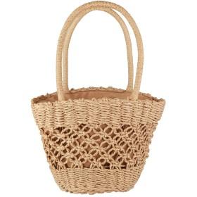 Henvren カゴバッグ 草編みバッグ パーチャスバッグ かごバッグ 編みかご 編みバック 手編みかご 巾着バック レディース ハンドルバック ショルダーバッグ 大容量 ライトブラウン Light brown