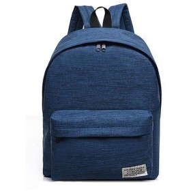 VWHキャンバスバックパックラップトップコンピュータバッグ収納袋ポータブルトラベルバッグ女性用男性(青)