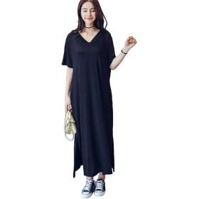 JIANGWEIレディースロング ワンピース マキシ丈 大きいサイズ 半袖 tシャツ 無地 妊娠服 欧米風 夏 ブラックF