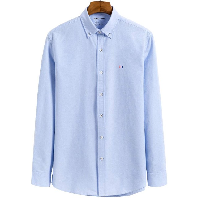 ODFMCE シャツ メンズ 長袖 綿100% ストライプ ワイシャツ 春秋 カジュアル 大きいサイズ (ブルー, XXL)
