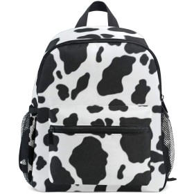 AOMOKI 子供バッグ リュック バッグ リュックサック 男女兼用 女の子 男の子 日常 大容量 学生 子供 プレゼント ギフト 牛柄 黒 白