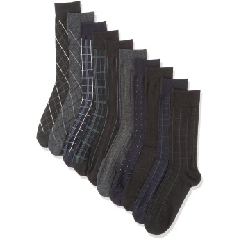 ソックスbox408 ビジネスソックス 10足セット クルー丈 靴下 メンズ フォーマルデザイン(27-29cm)