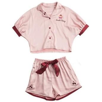 (フッカツ)子供パジャマ キッズ 女の子上下セット 薄い シルク パジャマ Tシャツ 前開き ボトムス リボン付き プリント ハート チェリーケーキ お嬢さん かわいい 春夏 部屋着 冷房対策 ピンク110