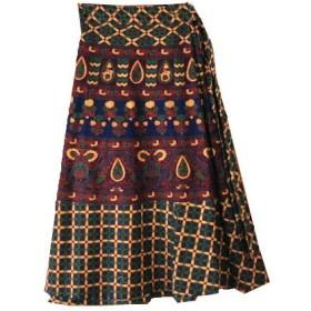 ROSERY HOUSE インド綿 巻きスカート エスニックベリー ネイビー 2色 ひざ丈 アジアン 森ガール